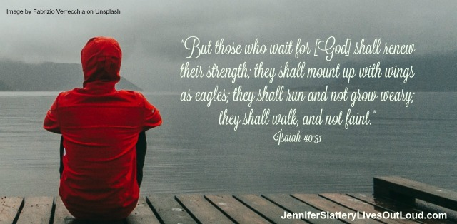 woman sitting on dock and words to Isaiah 40 verse 31