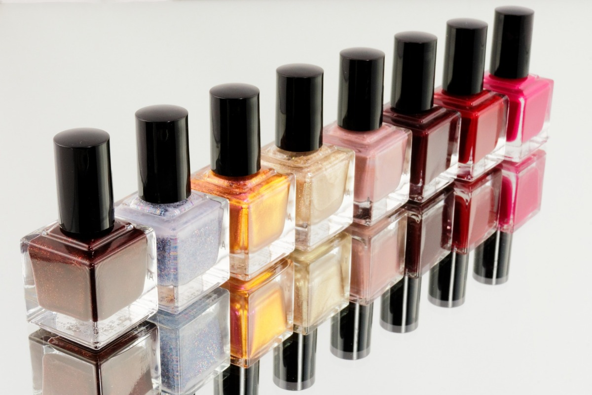 Nail polish bottles of different colors