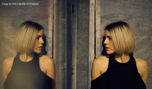 Mirror images of a woman