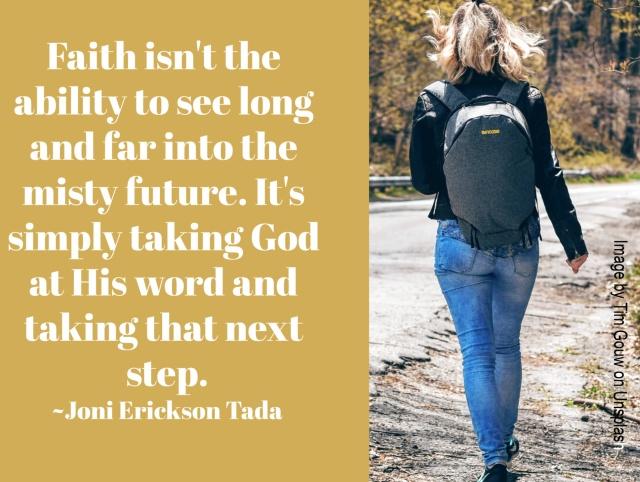 woman walking with quote from Joni Erickson Tada
