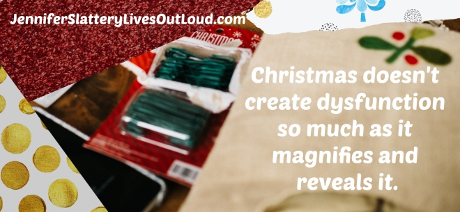 quote pulled from text with Christmas wrapping and items background