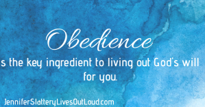 Blue background with quote on obedience