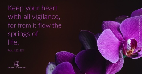 Flower with dark background and text from Prov. 4:23