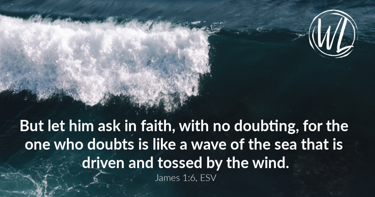 Wind-tossed waves and text from James 1:6