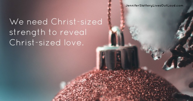 Quote on showing Christ's love with Christmas background