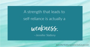 quote on overcoming fear of weakness with blue background