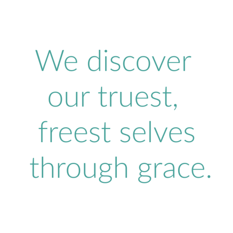 Grace quote, teal writing, white background