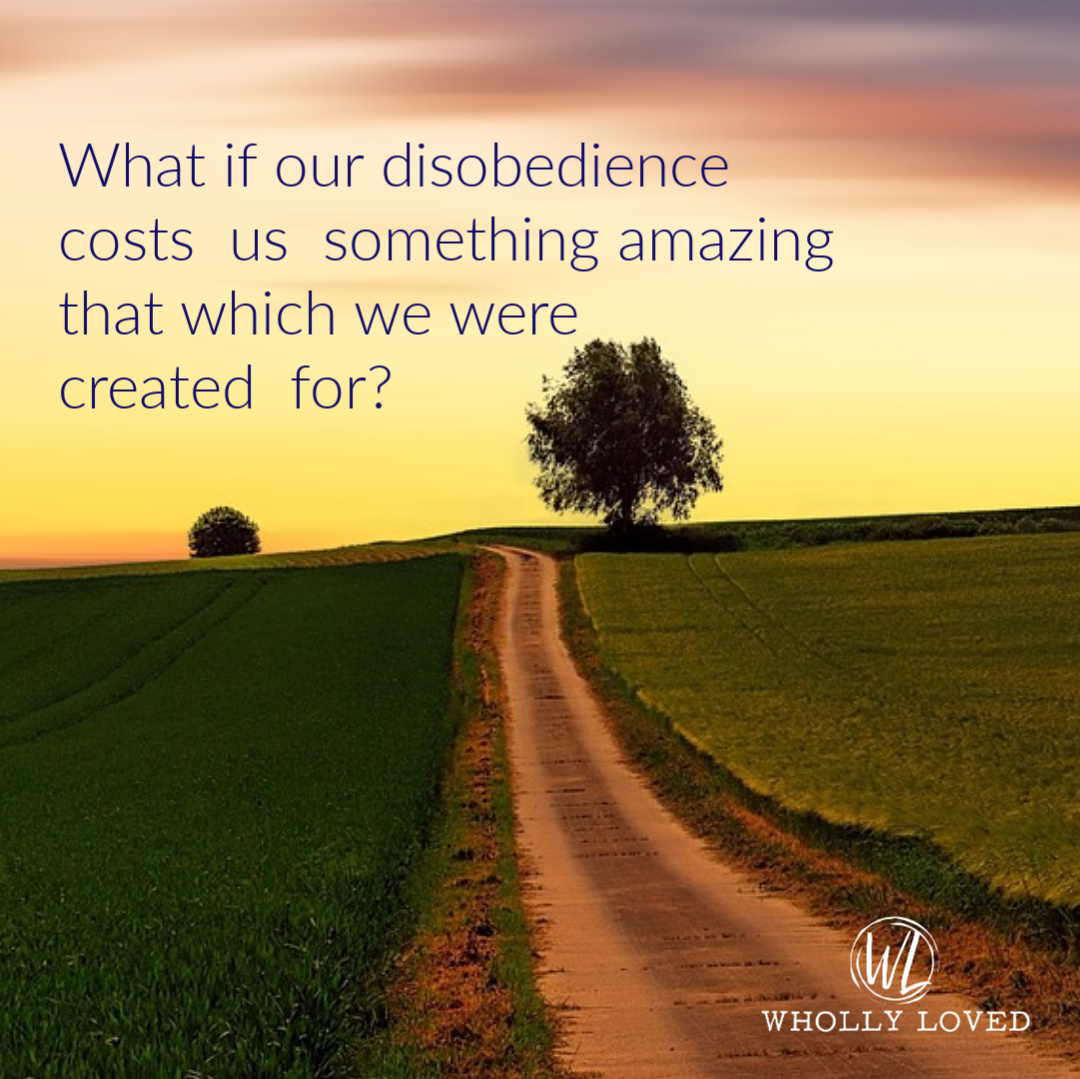 quote on obedience pulled from post with a sunset background