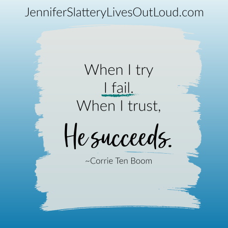 Blue background with quote from Corrie Ten Boom on trusting God