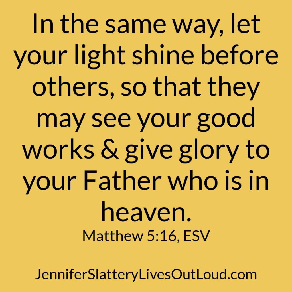 Matthew 5:16 on yellow background