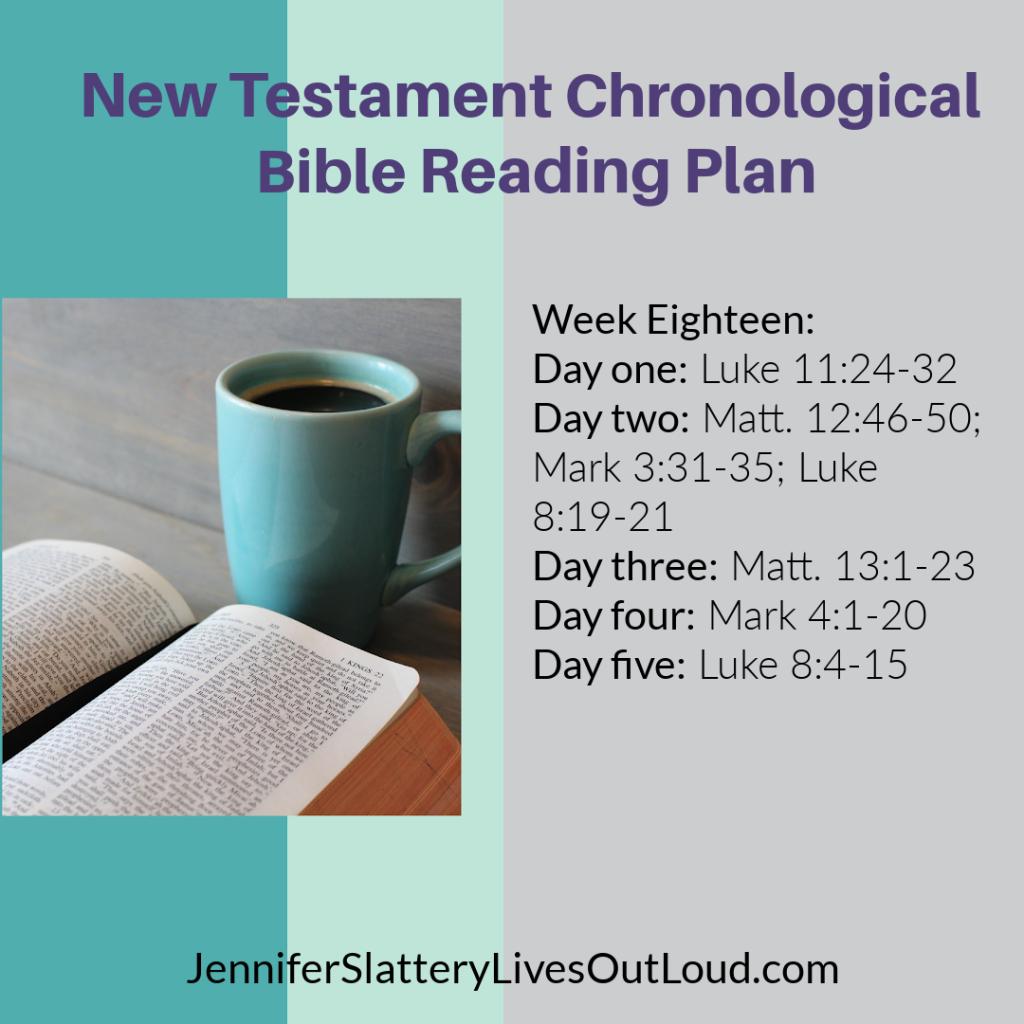 Week 18's Bible reading plan daily readings.