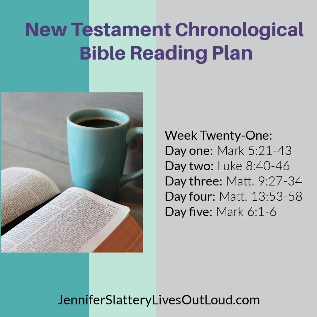 Chronological Bible reading plan week 21 graphic.