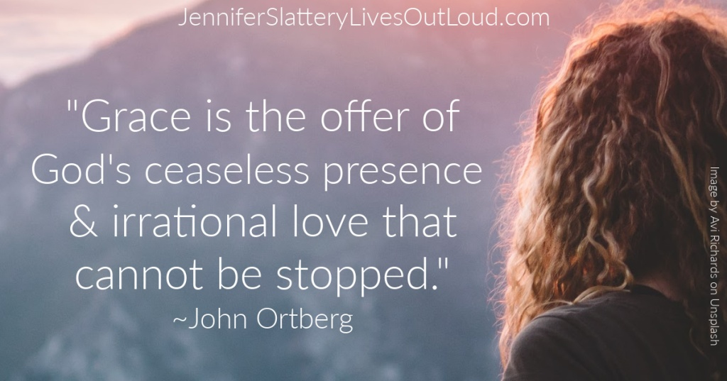 Woman gazing over horizon with quote from John Ortberg.